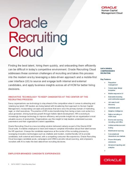 View Recruiting Cloud Data Sheet