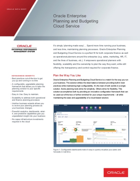 Planning and Budgeting Cloud Data Sheet